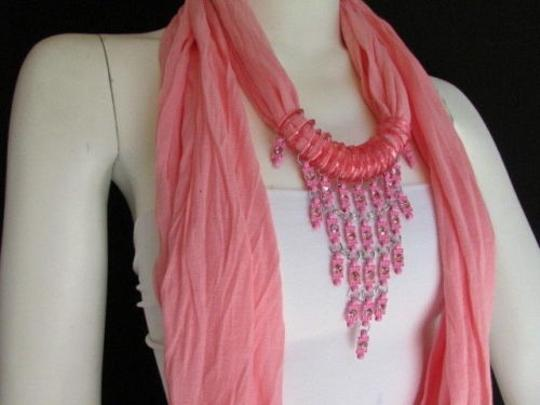 Other Women L. Pink Fashion Soft Scarf Long Necklace Triangle Big Rhinestones Pendant