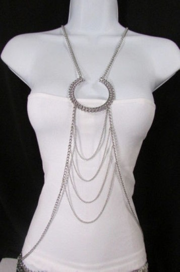 Other Women Silver Big Horse Shoe Metal Body Chains Long Necklace Fashion Jewelry