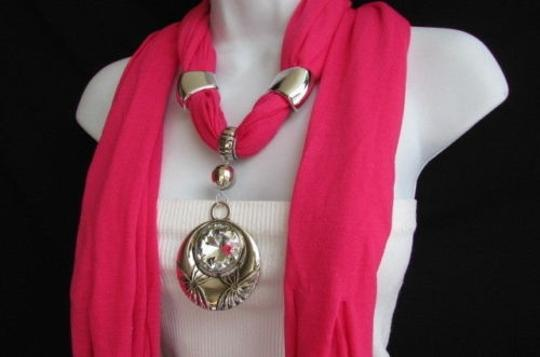 Other Women Necklace Fashion Fabric Scarf Glass Moon Pendant Pink Purple Yellow