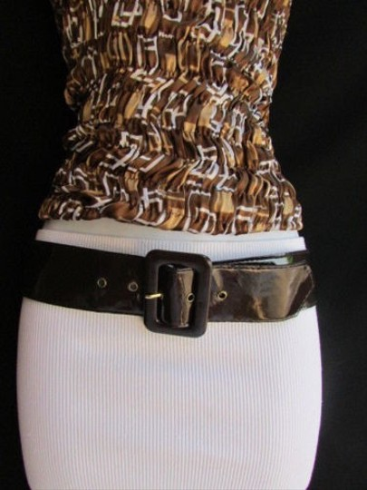 Other Women Belt Buckle Fashion Brown Faux Patent Leather Big Square 25-29