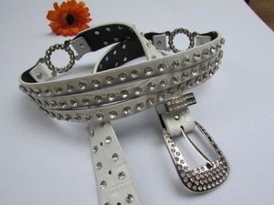 Other Women White Faux Leather Western Belt Silver Rhinestones Dual Look 30-36
