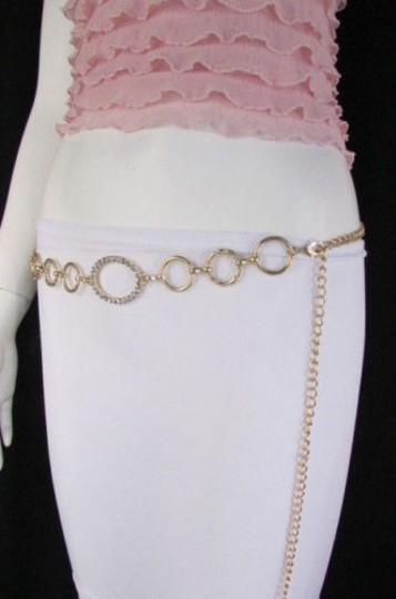 Other Women Belt Gold Metal Chains Links Rhinestones Circles 28- 42