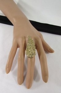 Women Fashion Ring Gold Metal Big Long Eagle Angel Wing Silver Rhinestone