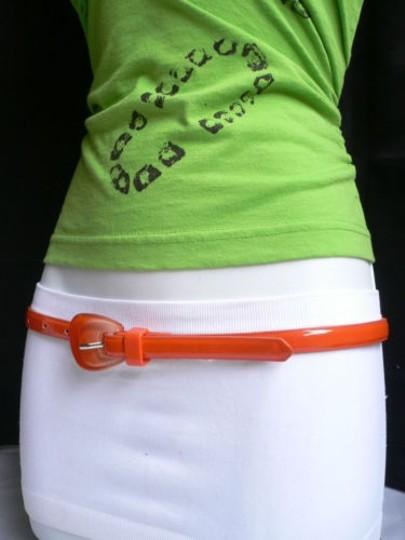 Other Women Trendy Orange Thin Faux Leather Belt Big Candy Buckle 28-37