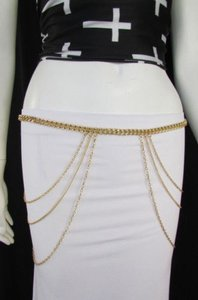 Women Gold Metal Chains Strands Wave Hips Fashion Belt 30-43