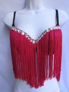 Other Women Fashion Salsa Bra Bright Pink Bralet Long Fring Clubwear 36b Top Reds