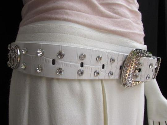Other Women White Faux Leather Belt Silver Buckle Western Peace Sign Rhinestones