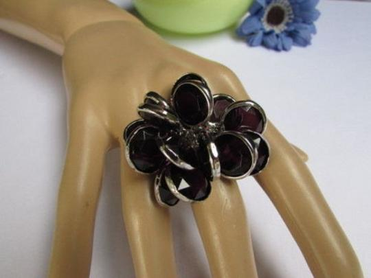 Other Women Silver Metal Big Fashion Ring Multi Black Beads Popular Trendy Style