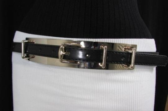 Other Women Fashion Black Belt Gold Metal Plate High Waist Faux Leather 27-36