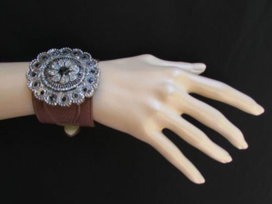 Other Women Silver Big Flowers Fashion Brown Faux Leather Bracelet Rhinestones