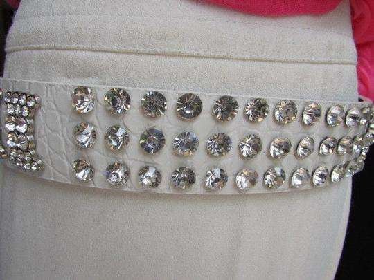 Other Women White Faux Leather Western Bows Belt Silver Rhinestones Buckle 30-36
