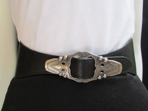 Other Women Waist Hip Black Elastic Fashion Belt Silver Moroccan Buckle 27-34
