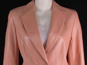Escada Women Peach Light Genuine Leather Long Jacket Fashion 38 Coat