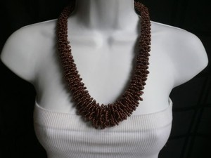 Women Brown Bronze Beads Thick Strand Indonesian Trendy Fashion Necklace
