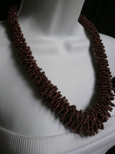 Other Women Brown Bronze Beads Thick Strand Indonesian Trendy Fashion Necklace