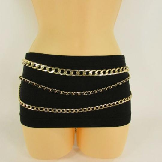 Other Women Belt Fashion Hip Waist Chunky Gold Thick Metal Chain Links Black