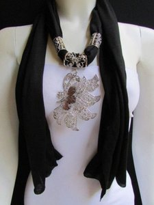 Women Black Soft Fabric Fashion Scarf Long Necklace Big Silver Butterfly Pendant