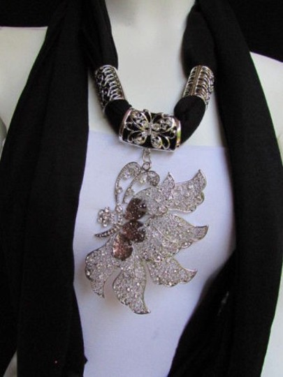 Other Women Black Soft Fabric Fashion Scarf Long Necklace Big Silver Butterfly Pendant