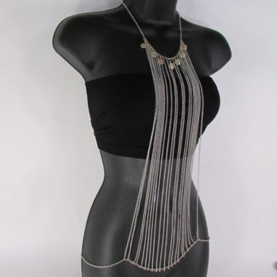 Other Women Necklace Silver Multi Coins Long Chains Frontal Metal Body Jewelry