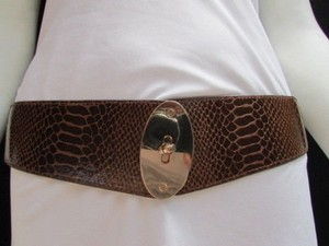 Other Women Waist Hip Brown Elastic Fashion Belt Gold Oval Buckle 26-35