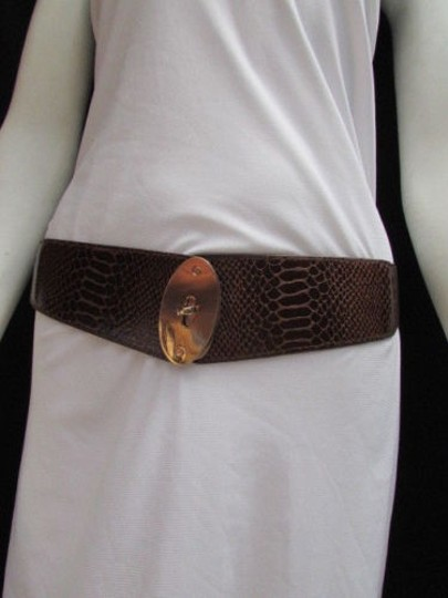Alwaystyle4you Women Waist Hip Brown Elastic Fashion Belt Gold Oval Buckle 26-35 Image 7