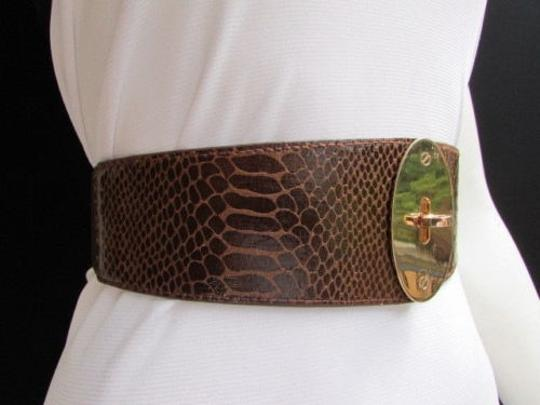 Alwaystyle4you Women Waist Hip Brown Elastic Fashion Belt Gold Oval Buckle 26-35 Image 9