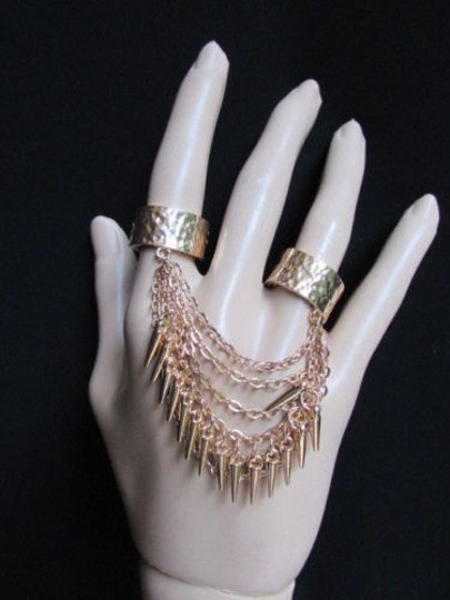 Other Women Rings Fashion Gold Metal Chains And Spikes Fingers Trendy Elastic