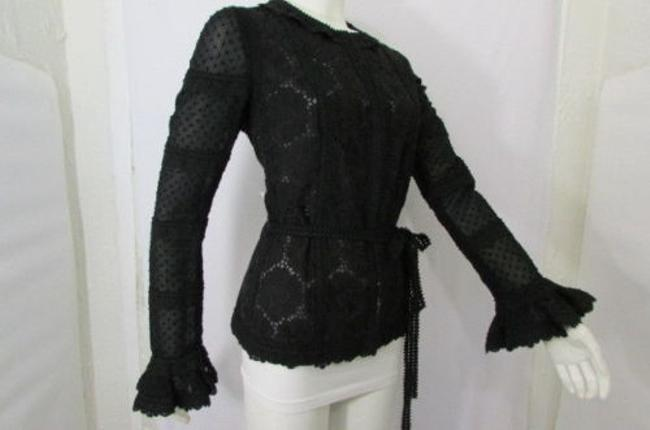 Andrew Gn Atelier Coat Fashion Lace Quilted Flowers 844 Black Jacket