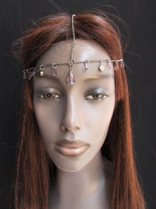 Alwaystyle4you Women Head Chain Pewter Metal Thin Clear Beads Head Band Piece