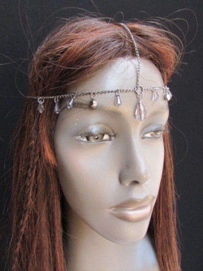 Other Women Head Chain Pewter Metal Thin Clear Beads Fashion Jewelry Head Band Piece