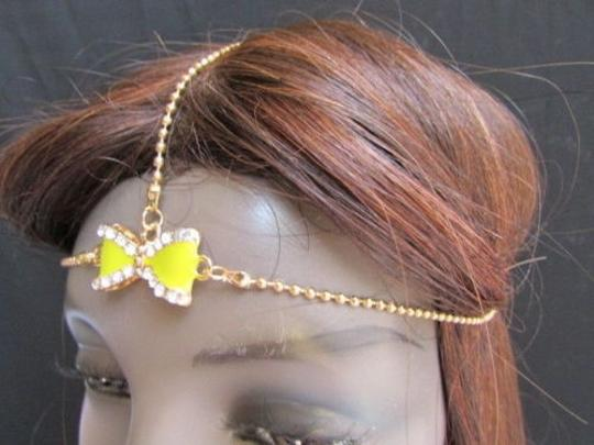 Other Women Gold Metal Head Chain Fashion Jewelry Big Center Yellow Bow Headband
