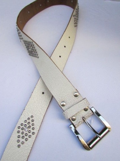 Other Women White Genuine Leather Western Fashion Belt Silver Rhinestones 29-36