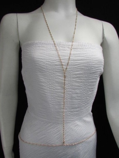 Other Women Gold Classic Single Strand Rhinestones Chains Metal Body Jewelry Necklace