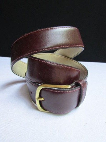 Other Women Brown Leather Classic Fashion Thin Belt Gold Buckle 29-33