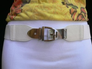 Women Elastic Hip High Waist White Thin Belt Silver Buckle 25-37 Xs-l