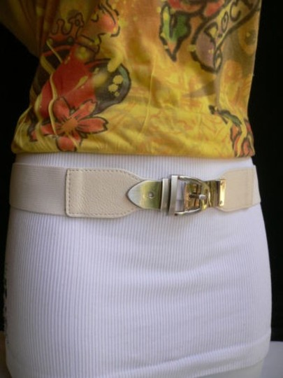 Other Women Elastic Hip High Waist White Thin Belt Silver Buckle 25-37 Xs-l