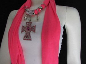 Alwaystyle4you Women Necklace Soft Fabric Pink Scarf Long Rhinestones Cross Pendant