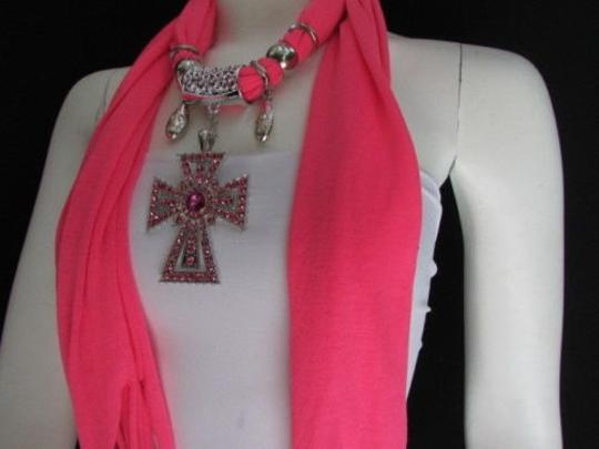 Other Women Necklace Soft Fabric Pink Scarf Long Western Rhinestones Big Cross Pendant