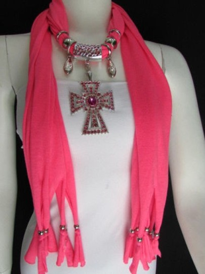 Alwaystyle4you Women Necklace Soft Fabric Pink Scarf Long Rhinestones Cross Pendant Image 1