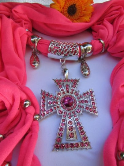Alwaystyle4you Women Necklace Soft Fabric Pink Scarf Long Rhinestones Cross Pendant Image 11