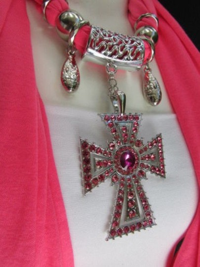 Alwaystyle4you Women Necklace Soft Fabric Pink Scarf Long Rhinestones Cross Pendant Image 2