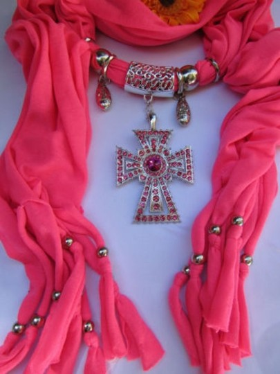 Alwaystyle4you Women Necklace Soft Fabric Pink Scarf Long Rhinestones Cross Pendant Image 4