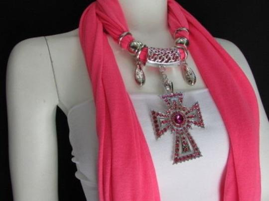 Alwaystyle4you Women Necklace Soft Fabric Pink Scarf Long Rhinestones Cross Pendant Image 5