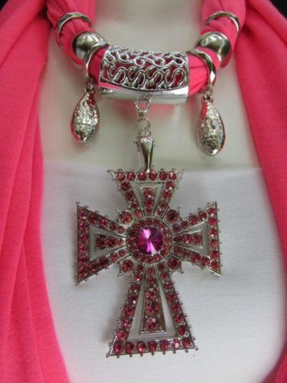 Alwaystyle4you Women Necklace Soft Fabric Pink Scarf Long Rhinestones Cross Pendant Image 6