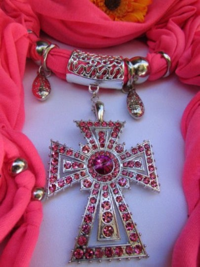 Alwaystyle4you Women Necklace Soft Fabric Pink Scarf Long Rhinestones Cross Pendant Image 7