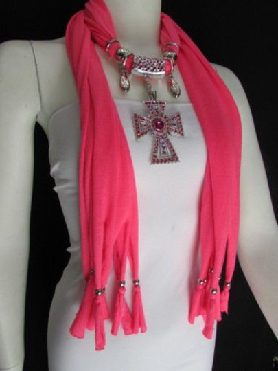 Alwaystyle4you Women Necklace Soft Fabric Pink Scarf Long Rhinestones Cross Pendant Image 8