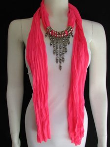 Women Pink Fashion Soft Scarf Long Necklace Triangle Silver Rhinestones Pendant