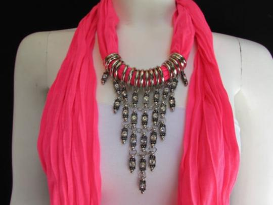 Alwaystyle4you Women Pink Soft Scarf Long Necklace Triangle Rhinestones Pendant Image 1
