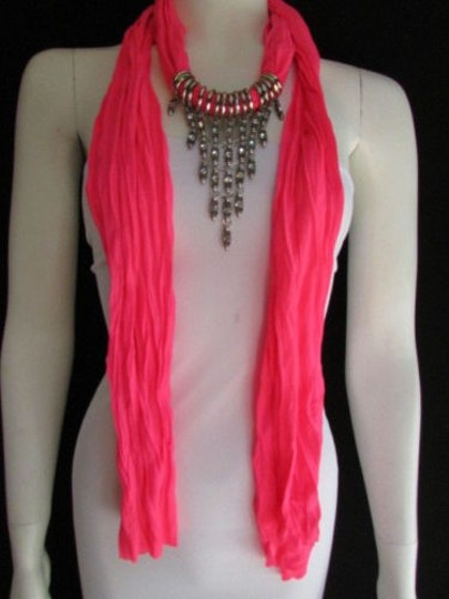 Alwaystyle4you Women Pink Soft Scarf Long Necklace Triangle Rhinestones Pendant Image 10