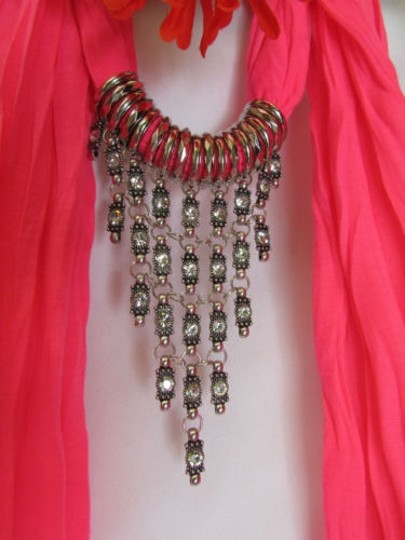 Other Women Pink Fashion Soft Scarf Long Necklace Triangle Silver Rhinestones Pendant